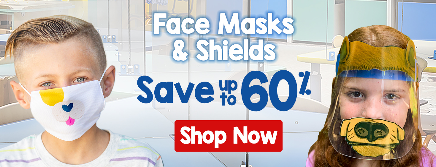 Click to Save up to 30 percent on Face Masks and Shields.