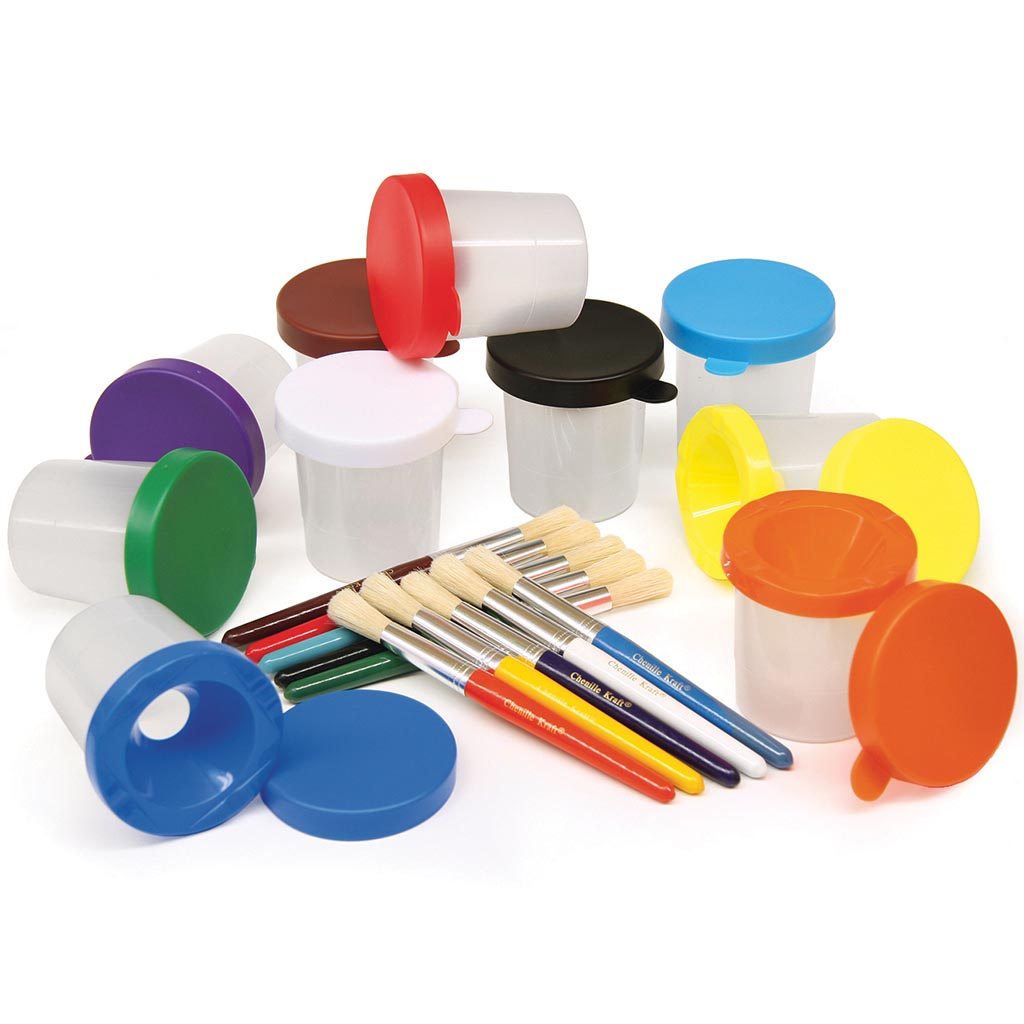 No-Spill Paint Pots and Brushes, Set of 10