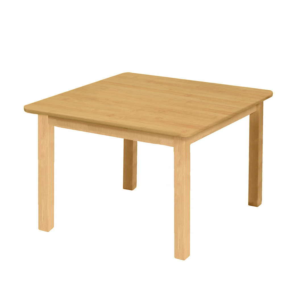 "Premium Solid Wood Table, 24"" x 24"", Square, Maple, 18"" High"
