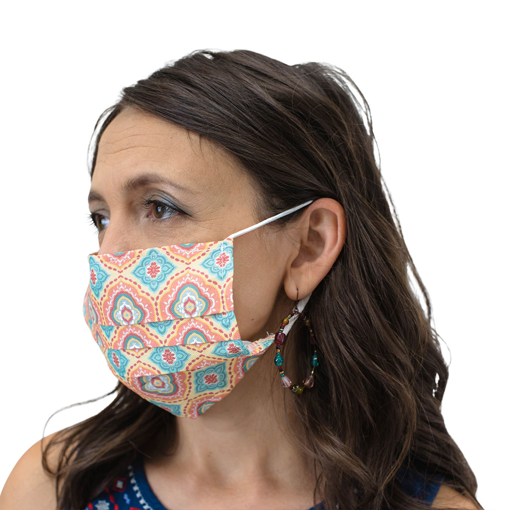 Reusable Face Mask with Ear Loops, Adult, Printed, 20 Pieces