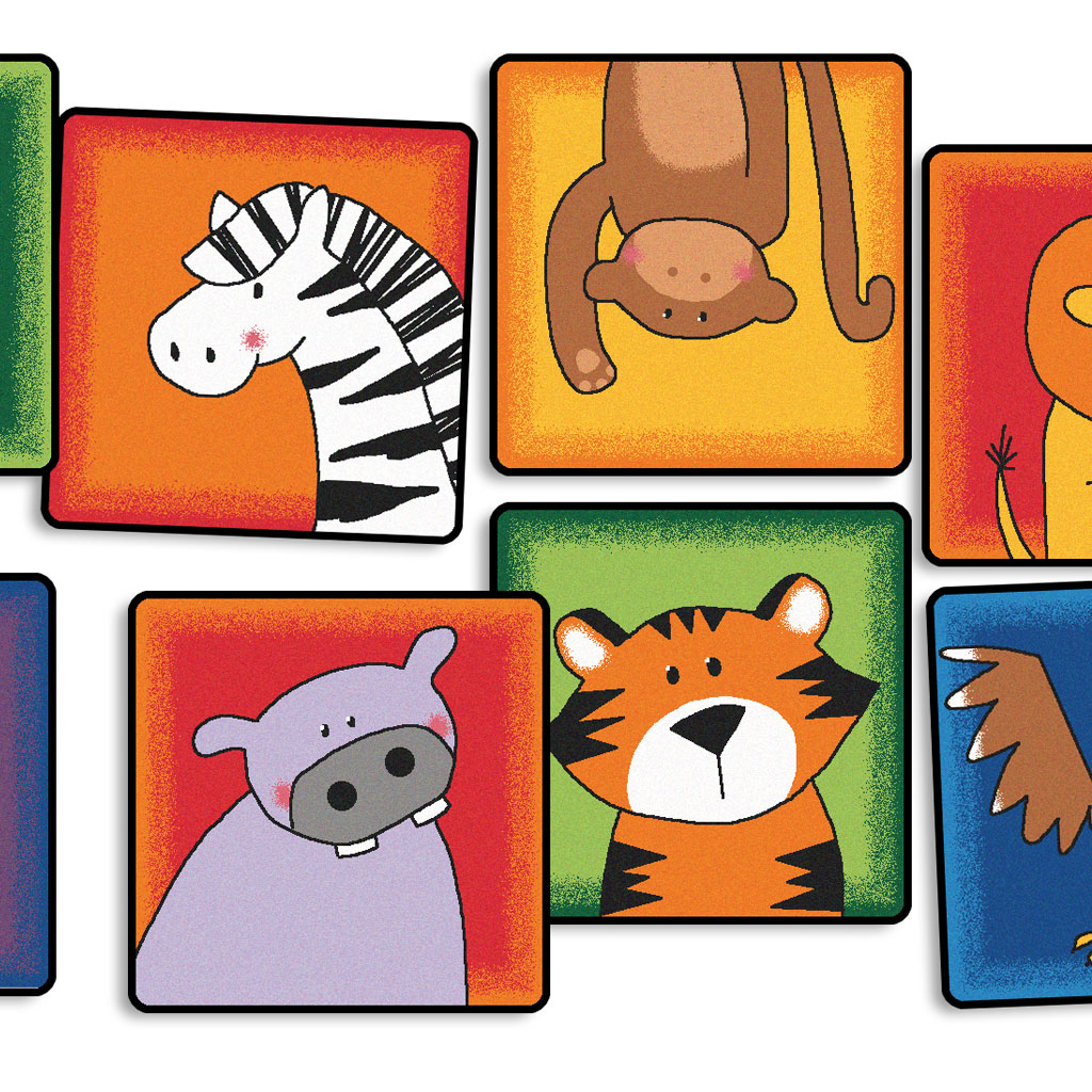 "Zoo Animals Seating Kit, 16"" x 16"", Square, Set of 12"