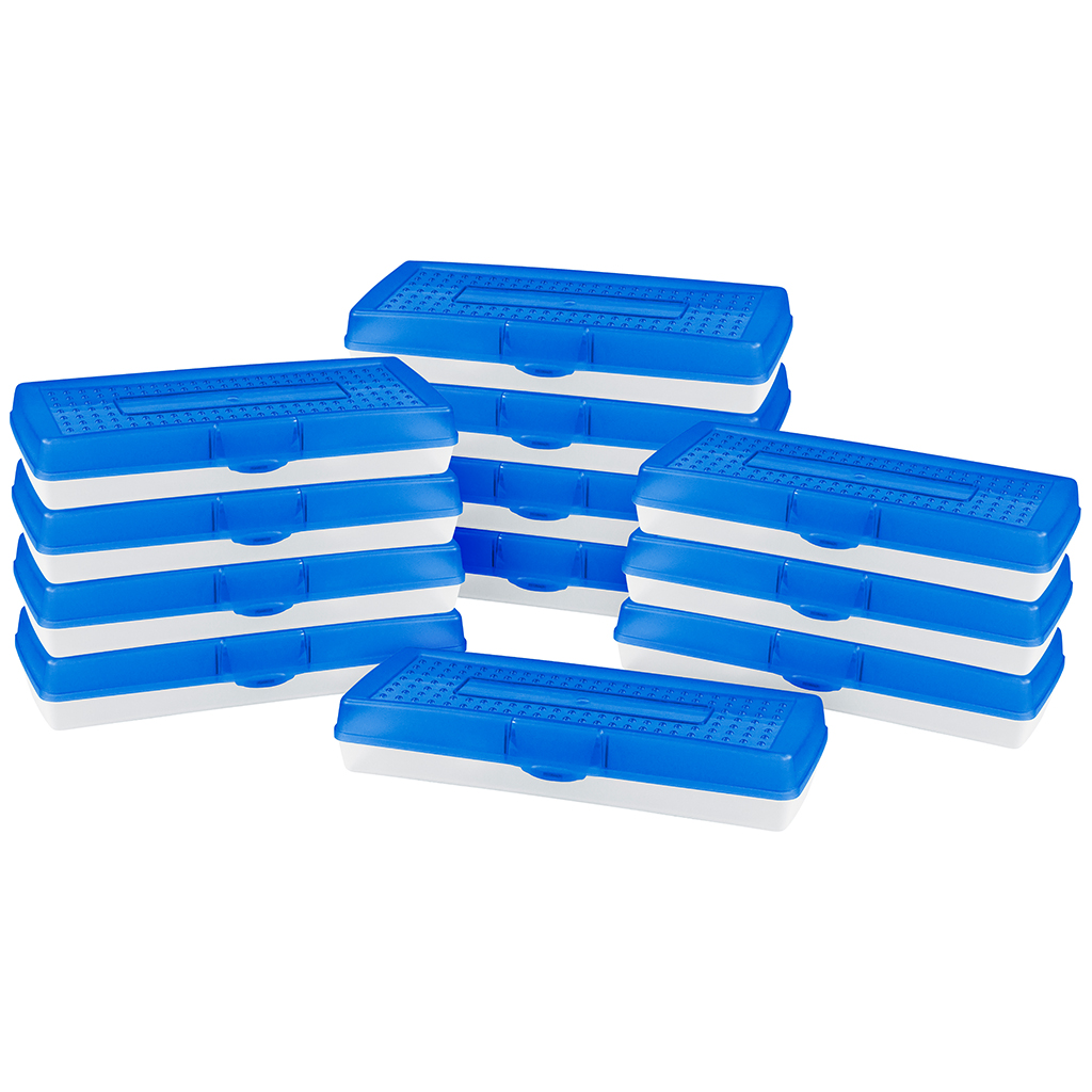 Stretch Pencil Case, Blue, Set of 12