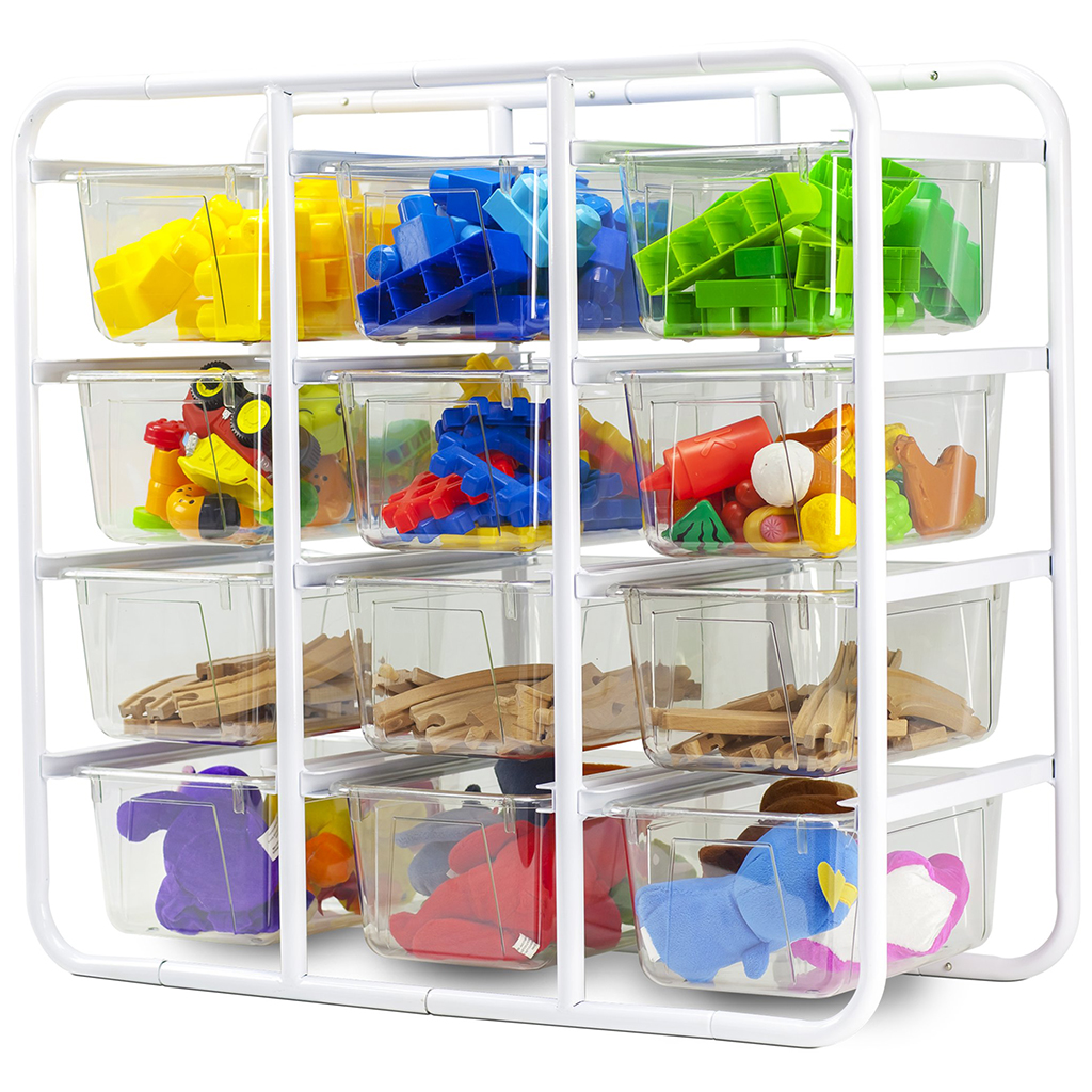 Storage Rack with 12 Clear Cubby Bins