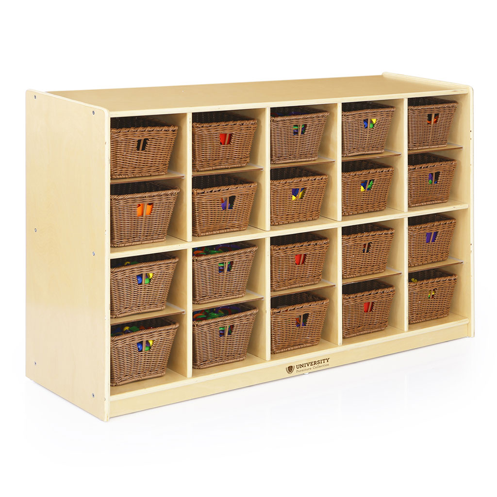 20-Compartment Storage Unit with Baskets