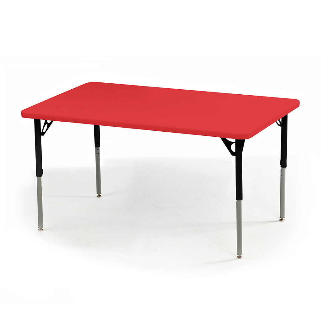 "Aktivity Adjustable Table, 30"" x 48"", Rectangle, Pomegranate with Black, 17""-25"" High"