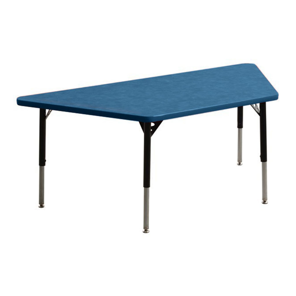 "Aktivity Adjustable Table, 30"" x 60"", Trapezoid, Blueberry with Black, 17""-25"" High"