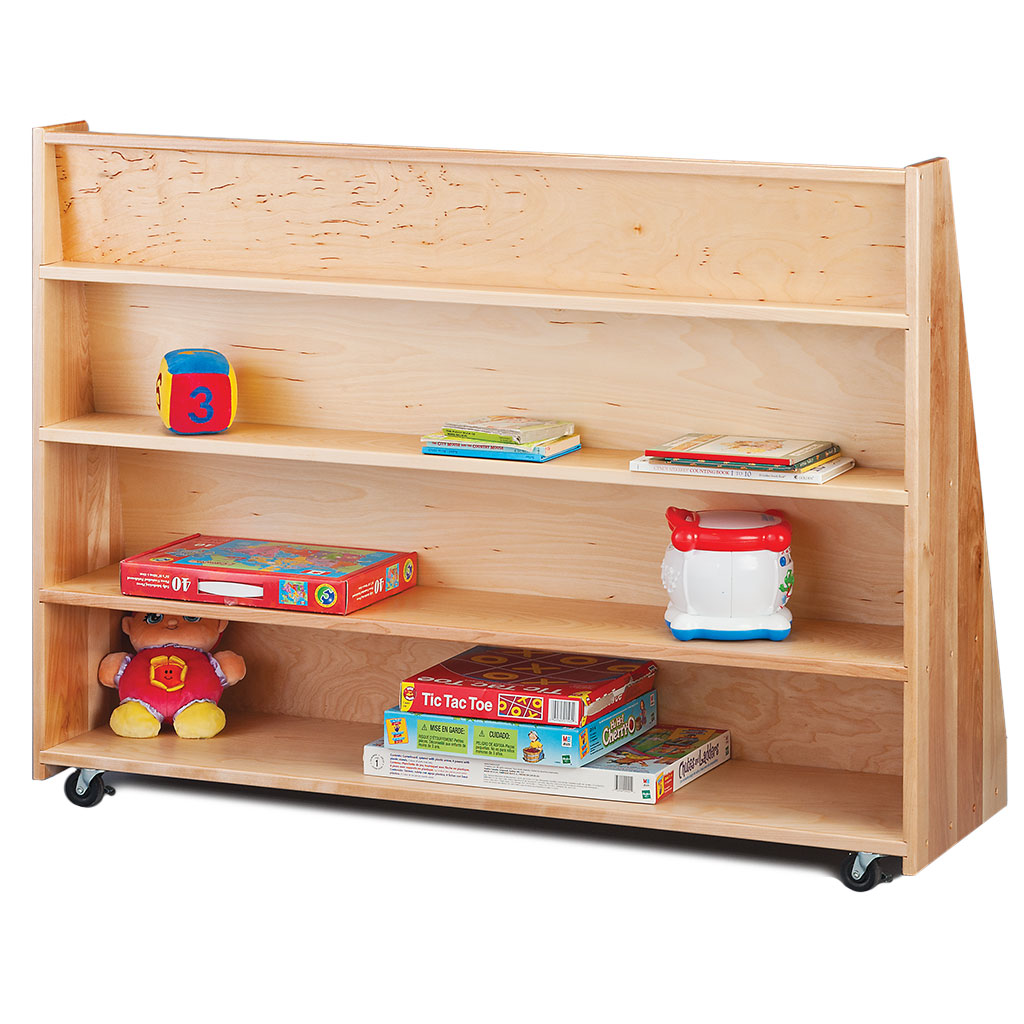Mobile Library Bookcase with Storage, Baltic Birch