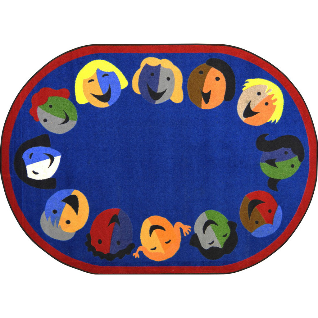 "Joyful Faces Rug, 7'8"" x 10'9"", Oval, Blue"