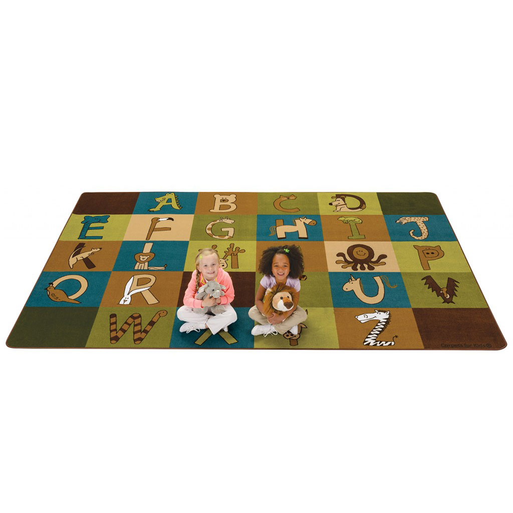 "A To Z Animals Rug, 7'6"" x 12', Rectangle, Natural"