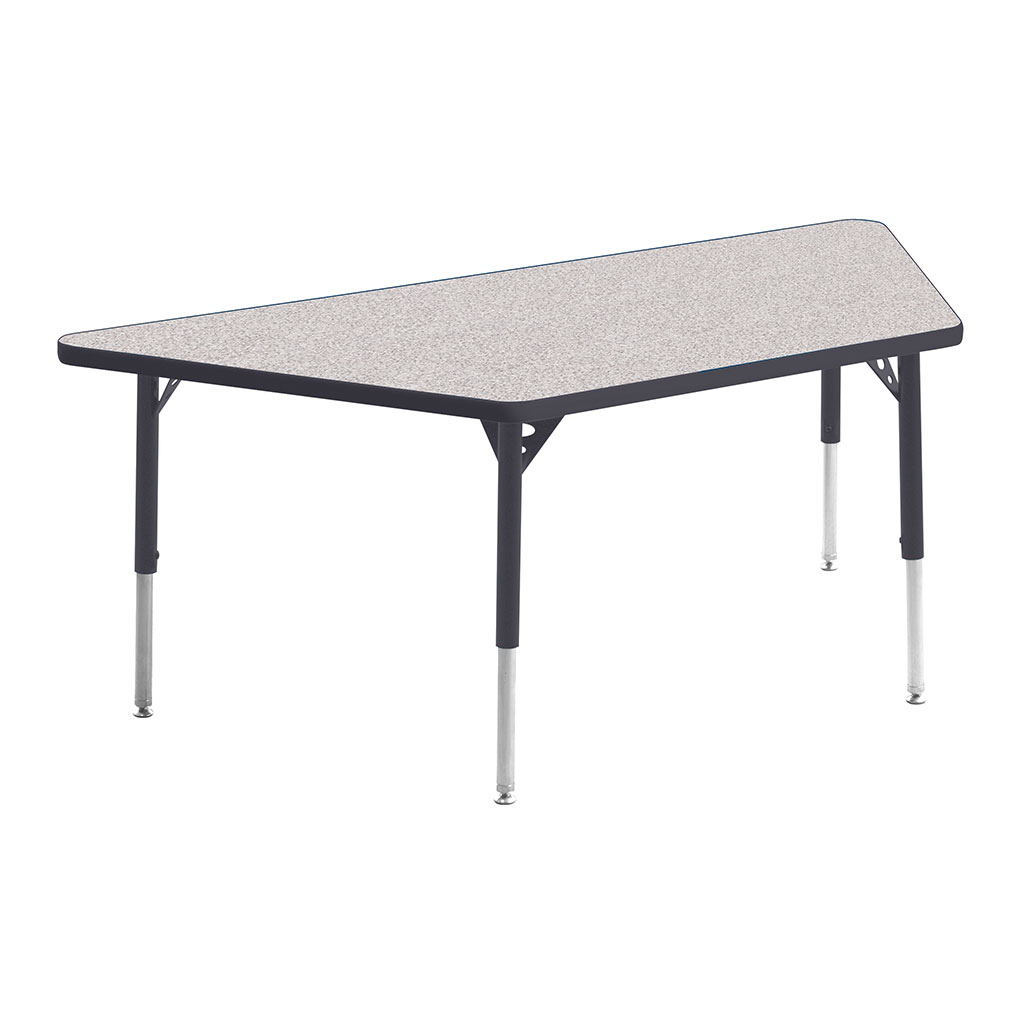 "Aktivity Adjustable Table, 30"" x 60"", Trapezoid, Grey with Grey, 17""-25"" High"