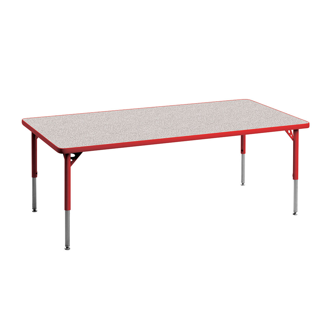 "Aktivity Adjustable Table, 30"" x 60"", Rectangle, Grey with Red, 17""-25"" High"