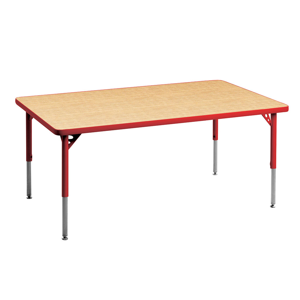 "Aktivity Adjustable Table, 30"" x 60"", Rectangle, Maple with Red, 17""-25"" High"