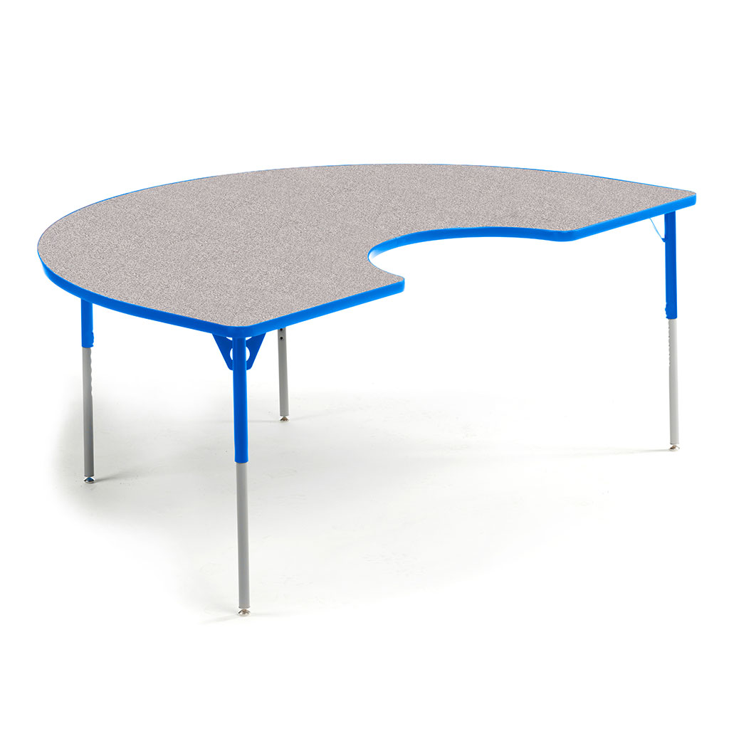 "Aktivity Adjustable Table, 36"" x 60"", Kidney, Grey with Blue, 17""-25"" High"