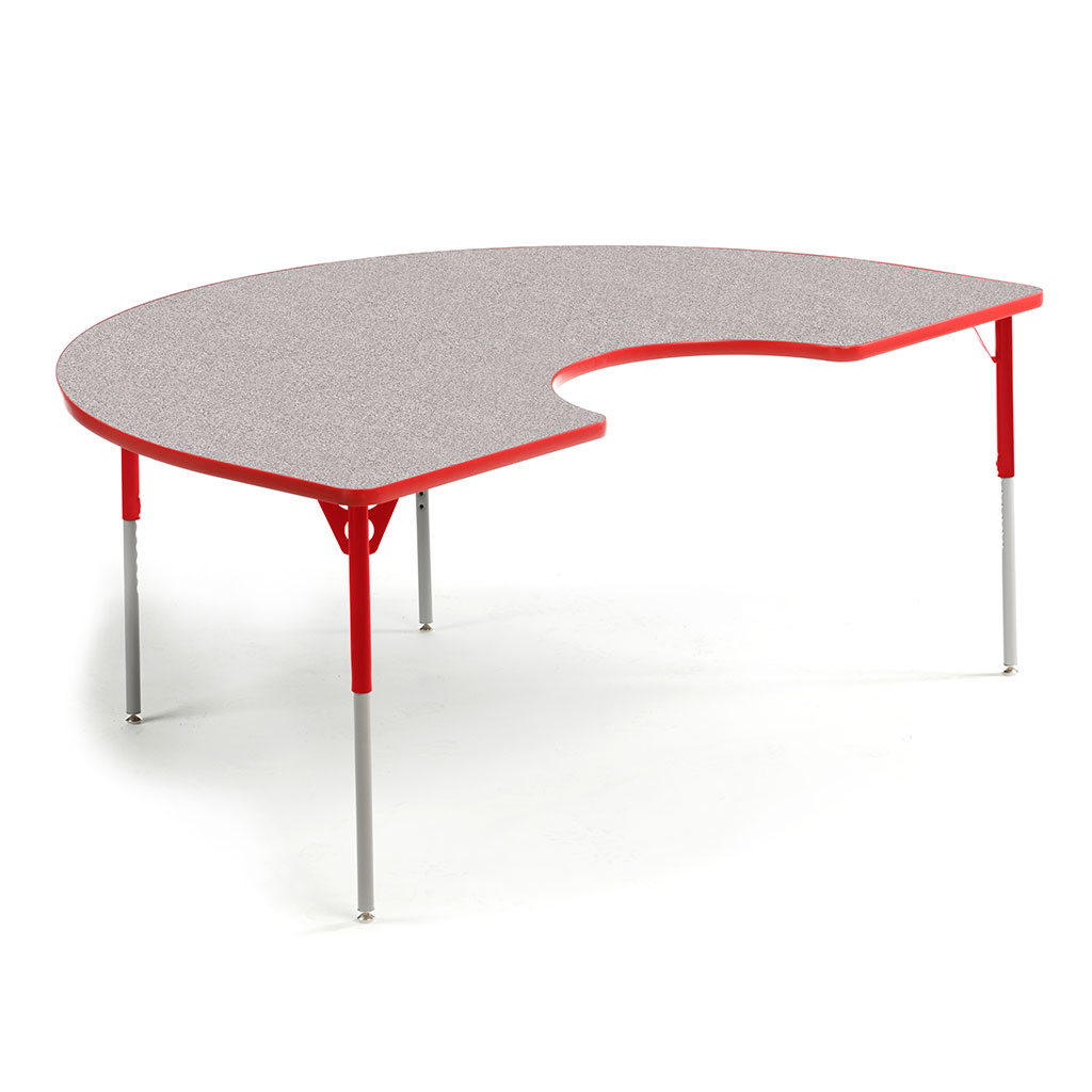 "Aktivity Adjustable Table, 36"" x 60"", Kidney, Grey with Red, 17""-25"" High"