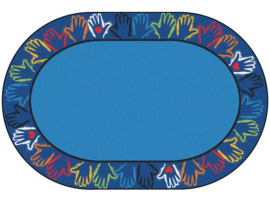 Hands Together Border Rug, 8' x 12', Oval, Blue