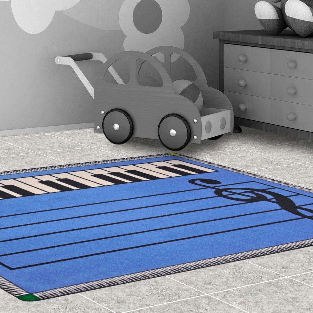 "Play Along Rug, 5'4""x 7'8"", Rectangle, Blue"