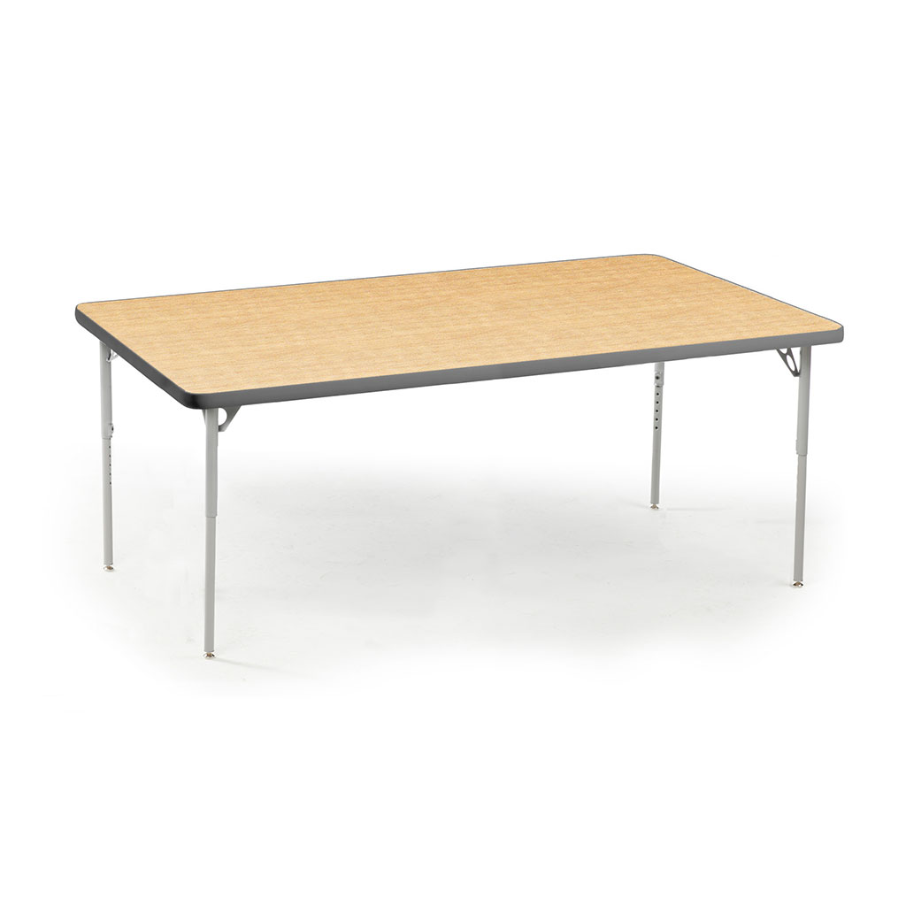 "Aktivity Adjustable Table, 30"" x 60"", Rectangle, Maple with Grey, 22""-30"" High"