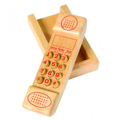 Wooden Cordless Push Button Phone