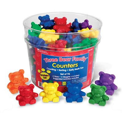 Three Bear Family Counters Set, Rainbow