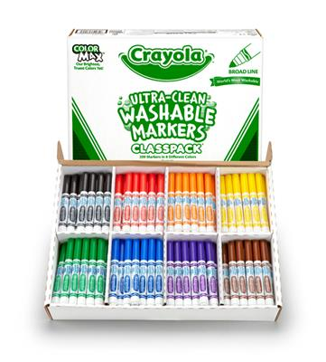 Crayola Washable Broadline Markers Classpack, Set of 200