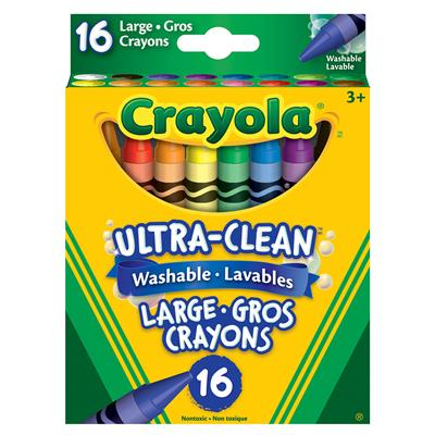 Crayola Ultra-Clean Washable Large Crayons, Set of 16
