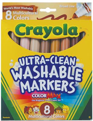 Crayola Washable Broadline Markers, Multicultural, Set of 8