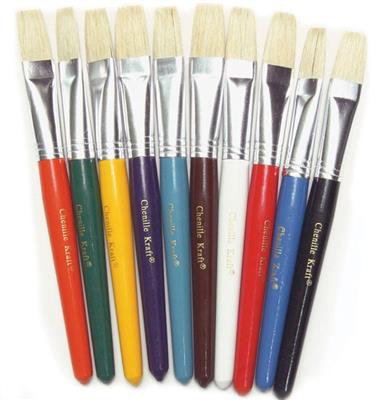 Flat Bristle Brushes, Set of 10