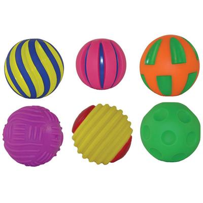 Tactile Squeak Balls, Set of 6