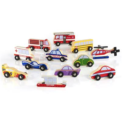 Wooden Vehicle Collection, 12 Pieces