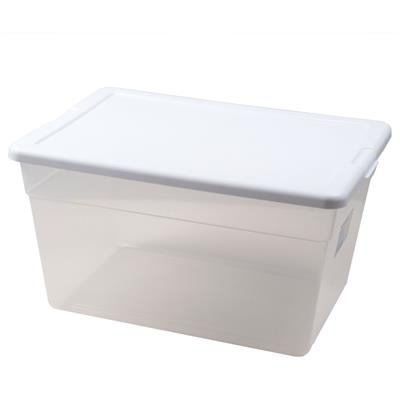 Storage Container with Lid, 53 L, Clear
