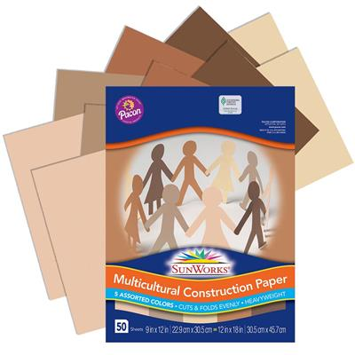 "SunWorks Construction Paper, 12"" x 18"", Multicultural, 50 Sheets"