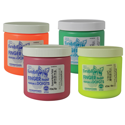 Fluorescent Finger Paint Set, Set of 4