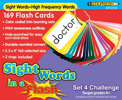 Sight Words in a Flash Cards, Grades 4+