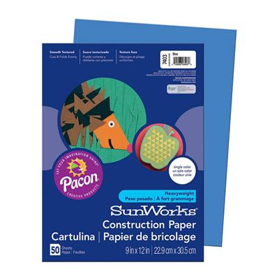 "SunWorks Construction Paper, 9"" x 12"", Blue, 50 Sheets"