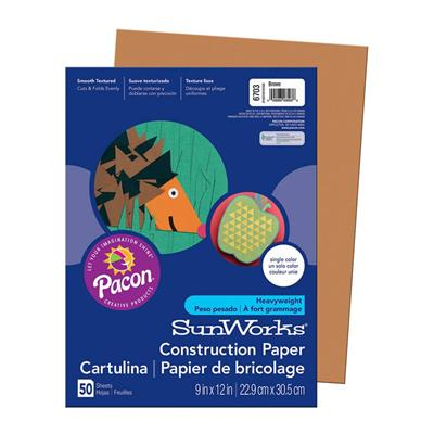 "SunWorks Construction Paper, 9"" x 12"", Brown, 50 Sheets"
