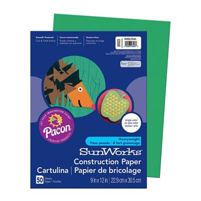 "SunWorks Construction Paper, 9"" x 12"", Green, 50 Sheets"