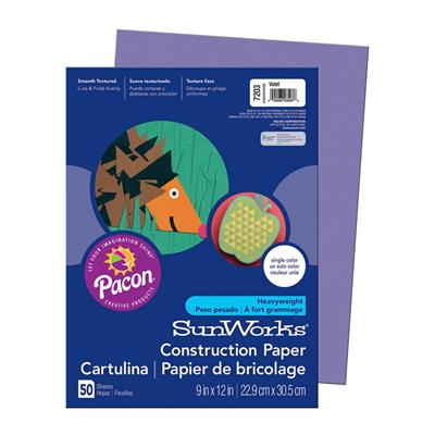 "SunWorks Construction Paper, 9"" x 12"", Violet, 50 Sheets"