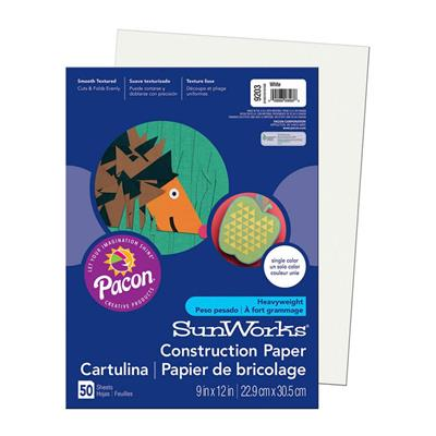 "SunWorks Construction Paper, 9"" x 12"", White, 50 Sheets"
