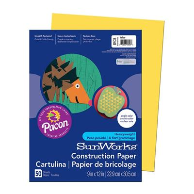 "SunWorks Construction Paper, 9"" x 12"", Yellow, 50 Sheets"