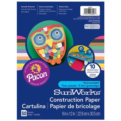 "SunWorks Construction Paper, 9"" x 12"", Assorted, 50 Sheets"