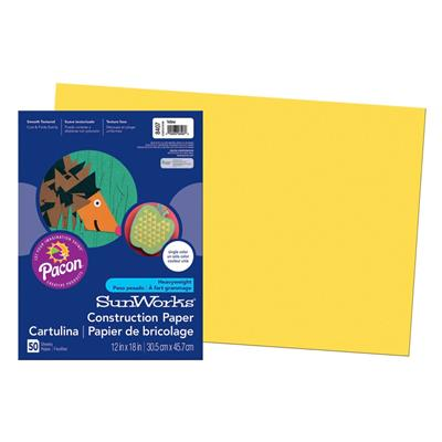 "SunWorks Construction Paper, 12"" x 18"", Yellow"