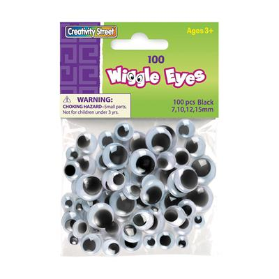 Creativity Street Wiggle Eyes, Assorted Sizes, White with Black, 100 Pieces