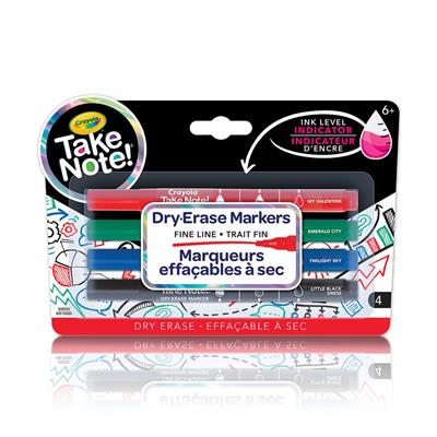 Crayola Take Note Dry Erase Markers, Fine Line, Set of 4