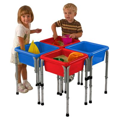 4-Station Square Sand and Water Table with Lids