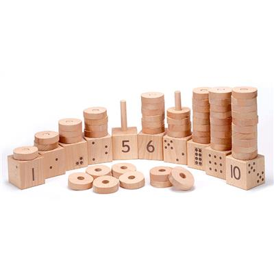 1-10 Natural Number Stacker, 65 Pieces