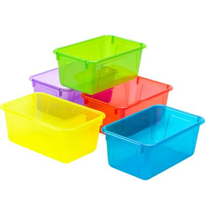 Cubby Bins, Small, Assorted Translucent, Set of 5