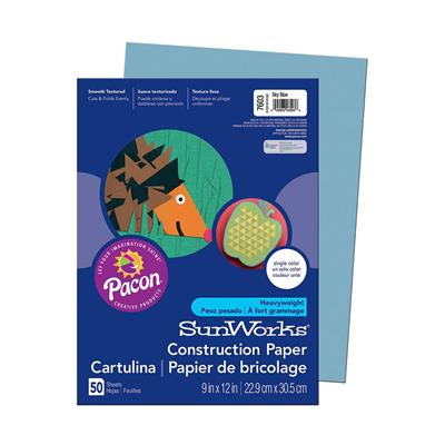 "SunWorks Construction Paper, 9"" x 12"", Sky Blue, 50 Sheets"