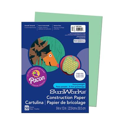 "SunWorks Construction Paper, 9"" x 12"", Light Green"