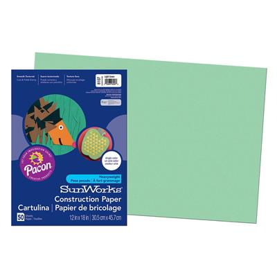 "SunWorks Construction Paper, 12"" x 18"", Light Green"