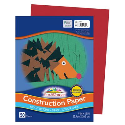 "SunWorks Construction Paper, 9"" x 12"", Red, 50 Sheets"